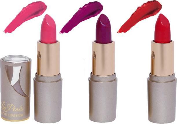 La Perla (Golden Toya) Creamy Matte Lipstick (BABY PINK, MYSTIC MAUVE, ROSY RED)