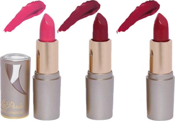 La Perla (Golden Toya) Creamy Matte Lipstick (BABY PINK, RUSTY BROWN, INDIE MAROON) (Set of 3)