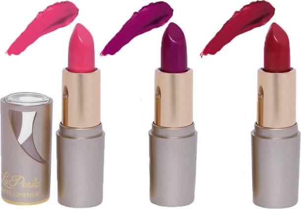 La Perla (Golden Toya) Creamy Matte Lipstick (BABY PINK, MYSTIC MAUVE, INDIE MAROON) (Set of 3)