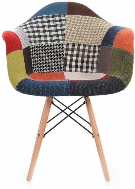 Urbancart Modern Furniture Patches Chair with Armrest and Cushion for Cafeteria Seating/Dining/Side Chair/Kitchen/Restaurants/Hotels Solid Wood Living Room Chair
