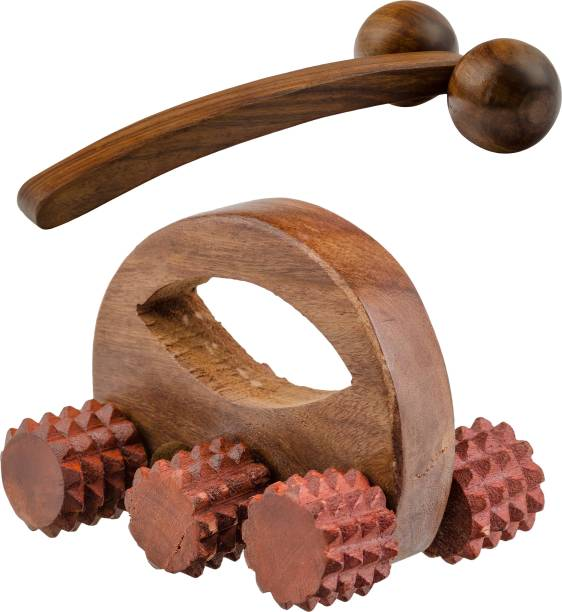 NAU NIDH ENTERPRISES Wooden Acupressure Face 6 Ball Massager D Shape (Cutter) & 2 Ball Plain Massager Massager