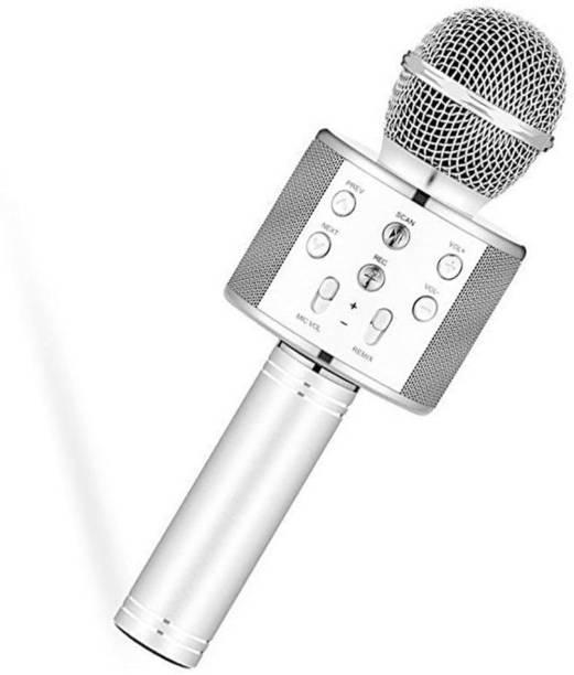 awza Wireless Handheld Bluetooth Mic with Speaker (Bluetooth Speaker) Audio Recording and Karaoke Feature Microphone Handheld 858 (Black) Wireless Handheld Bluetooth Mic with Speaker (Bluetooth Speaker) Audio Recording and Microphone
