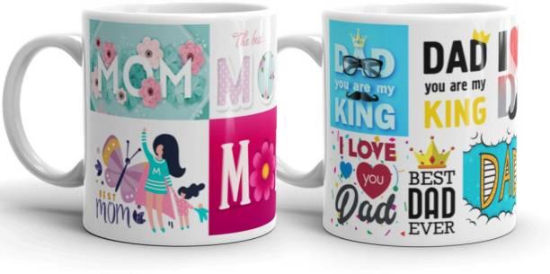 Ridhi Sidhi Design MOM DAD EVER Ceramic Coffee, Gift for Parents, Anniversary, Birthday, Mummy Papa Set of 2 (325ml) RSD00315 Ceramic Coffee Mug