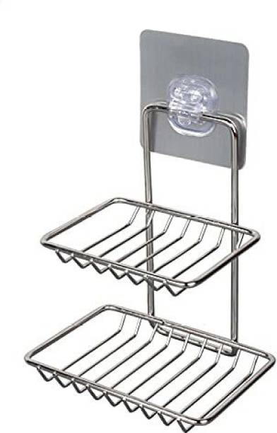 DARK UNION SHOP Wall Mounted Double Layer soap Dish Holder Stainless Steel Wall Hanging Soap Storage Rack for Kitchen Bathroom-with Self Adhesive Magic Sticker