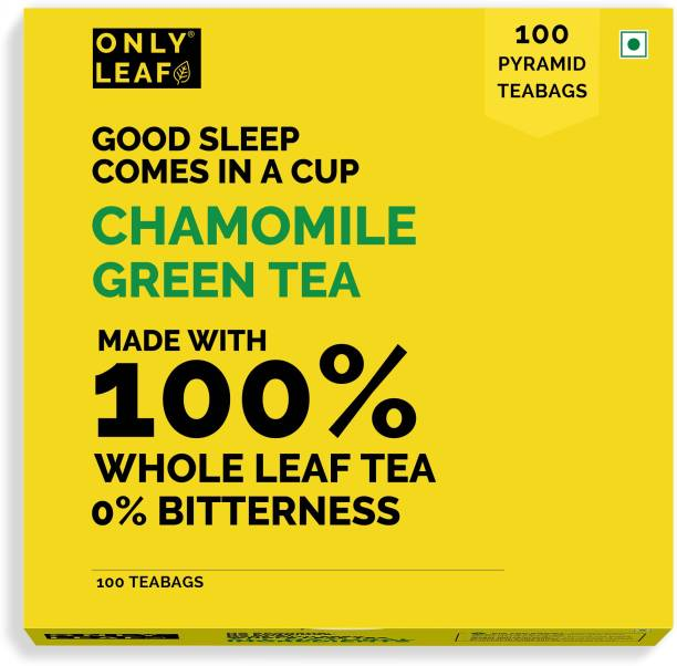 Onlyleaf Green Tea For Stress Relief Good Sleep Made with 100 percent Whole Leaf Natural Flowers Pyramid Tea Bags, Chamomile, 100 count Apple Green Tea Bags Box