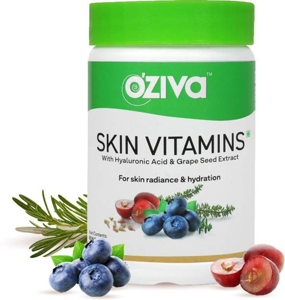 OZiva Skin Vitamins (With Hyaluronic Acid and Grape Seed Extract), 60 Capsules
