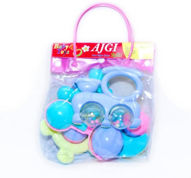 AJGI 5pcs Non-Toxic BPA Free Colourful Rattle Toys Rattle