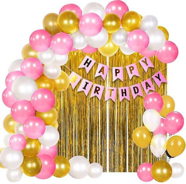 PAHUJA Solid 1 Pink Happy Birthday Banner+2 Pc Gold Fringe Curtain+30 Pcs Mettalic Balloon for Kids Girls Boys Women Birthday, Baby Shower, Princess, 1st, 2nd Years Decorations Combo Kit Exclusive Packet Letter Balloon