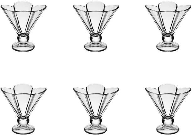 Upscale Crystal Clear Deep Flower Shape Glass Ice Cream Bowl - 150ML - Set of 6 Glass Dessert Bowl
