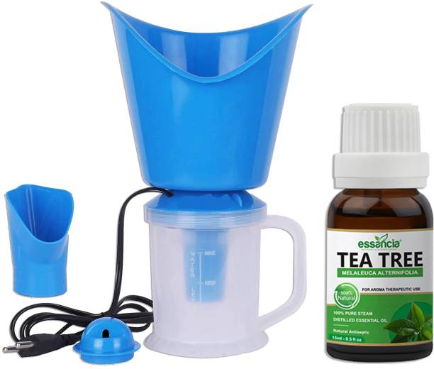 essancia 3 in 1 Steam Vaporizer Nose Steamer With 15 ML Tea Tree Essential Oil, Cough Steamer, Nozzle Inhaler & Nose Vaporizer, Facial Steamer Vaporizer for Cold And Cough Relief