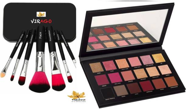 Virago it's shine time COMBO OF MULTI SHADES 18 COLOUR ROSE GOLD EDITION EYESHADOW PALETTE WITH SET OF 7 EYE MAKEUP BRUSH SET KIT
