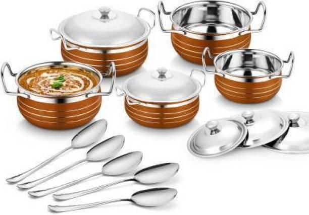 Flipkart SmartBuy Stainless Steel Copper Handi 10 Pieces (Cook and Serving Handi) Induction Bottom Cookware Set