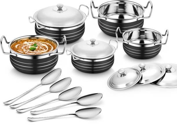 Flipkart SmartBuy Stainless Steel Black Handi Cookware set (Cook & Serve Handi) Induction Bottom Cookware Set