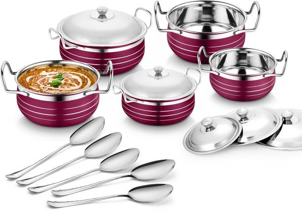 Flipkart SmartBuy Stainless Steel Pink Handi Cookware set (Cook & Serve Handi) Induction Bottom Cookware Set