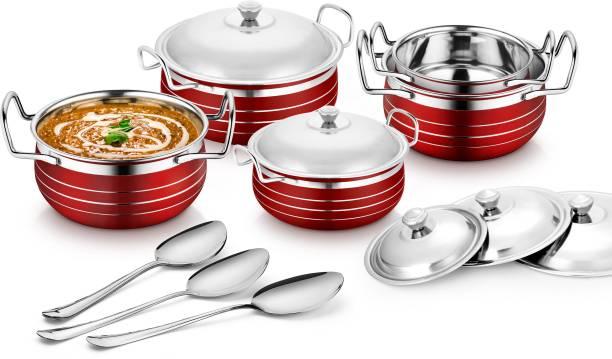 Flipkart SmartBuy Stainless Steel Red Coloured Handi Cookware set (Cook & Serve Handi) Induction Bottom Cookware Set