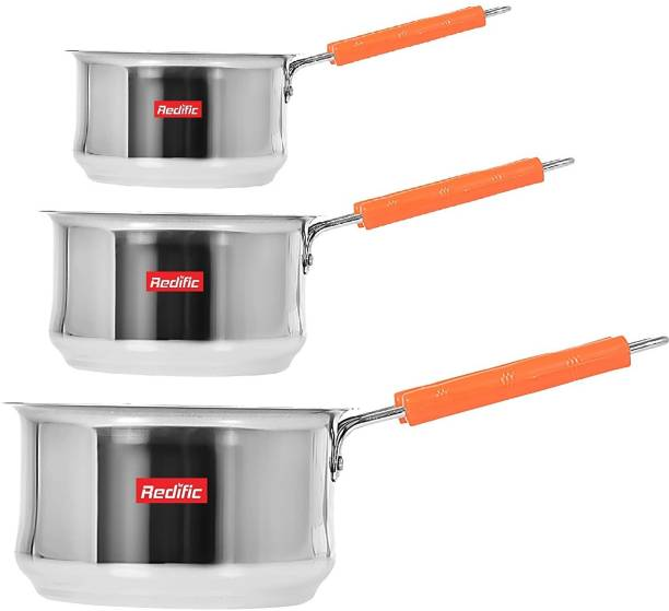 Redific Saucepan Set Sauce pan for Tea Pan saucepan combo steel saucepan sauce pan chai milk pan pot boiler container coffee maker Saucepan induction bottom Friendly Stainless Steel Induction Compatible Saucepan/Cookware/Container/Tea Coffee Pan Set with Handle Set of 3 Pc Pcs Pieces (Capacity: 2000 ml, 1500 ml, 1000 ml)(Colour: Silver, Without Lid)(Belly Shape) Induction Bottom Cookware Set