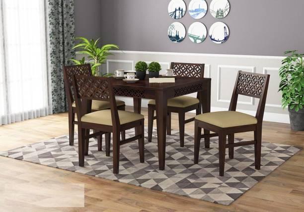 Custom Decor Solid Wood 4 Seater Dining Set