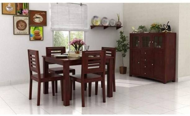 Credenza Solid Wood 4 Seater Dining Set