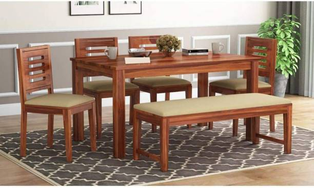 Credenza Solid Wood 6 Seater Dining Set