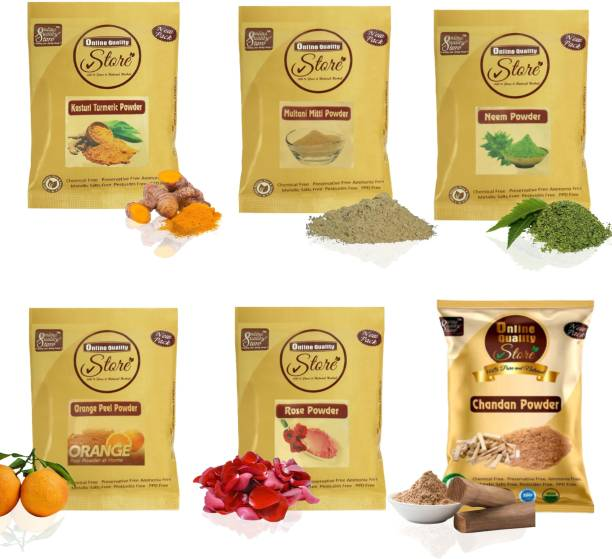 Online Quality Store Combo Face Pack for Glowing Skin & Pimples(Multani Mitti Powder (50 g) , Chandan Powder (50 g), Orange Peel Powder (50 g), Rose Powder (50 g), Neem Powder (50 g) and Kasturi Haldi Powder (50 g) - All in Separate Packing - Total (300 g)