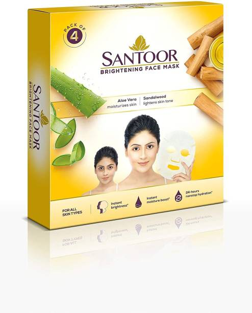 santoor Brightening Sheet Mask Aloe & Sandal(Pack of 4)