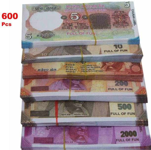 Mallexo 600PCs Fake Currency for Kids - Artificial Dummy Notes and Fake Money Note for Kids with Kids Activity Manual Money for Playing Toy (6 Bundle Duplicate Money for Kids) - Dummy Notes for Kids Money Toys Gag Toy