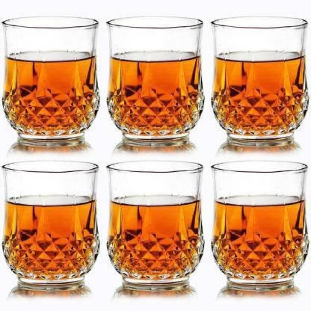 Flipkart SmartBuy (Pack of 6) Plastic Multi Purpose Unbreakable Drinking Glass Crystal Cut Diamond Imported Whiskey Glasses,Serving Glass for Scotch, Bourbon, Vodka, Liquor 300ml, Set of 6 Glass Set