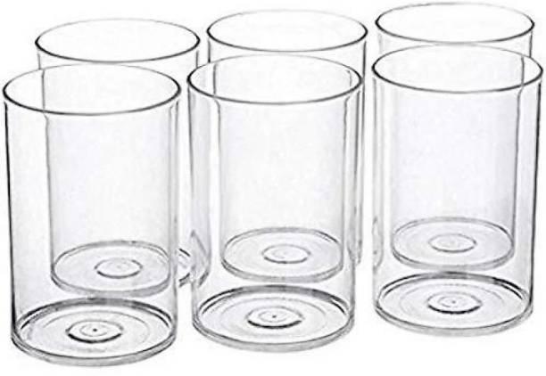 Flipkart SmartBuy (Pack of 6) (Pack of 6) 6 Pcs. Unbreakable Stylish Transparent Water Glass Set 300 Ml,Abs Poly Carbonate Plastic Magic Glasses Glass Set (300 ml, Plastic) Glass Set