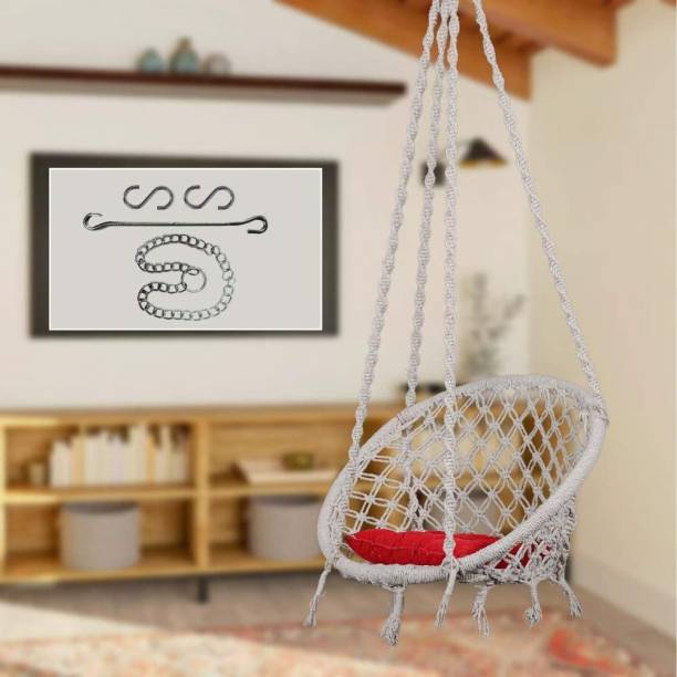 Swingzy Swing with Square Cushion & Chain Cotton Small Swing
