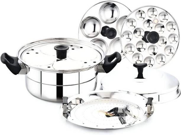 DIAMOND Stainless Steel Multi Steamer Pot- 2 Idli Plates (9 Idlis), 1 Mini Idli Plate (18 Mini Idlis) and 1 Multi Purpose Steamer/Idiyappam Steamer Plate (Induction Compatible) Induction & Standard Idli Maker