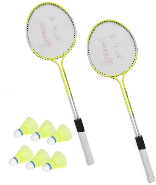 AS Badminton Set Of 2 Piece Racquet with 6 Piece Plastic Shuttle Badminton Set Badminton Kit