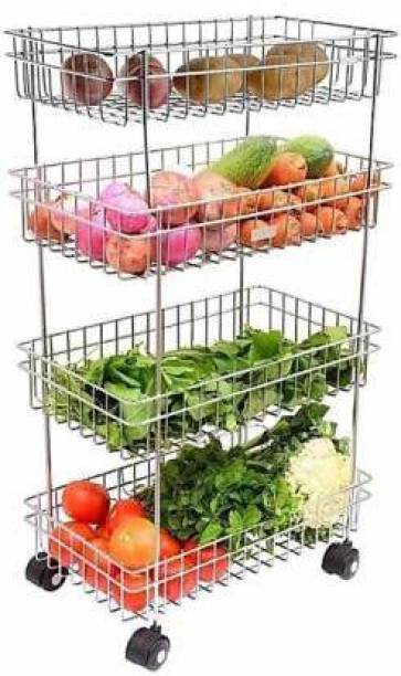HUMBLE KART Stainless Steel 4 Layer Onion Potato Stand for Kitchen Fruit Vegetable Stand Storage Trolley Stainless Steel Kitchen Trolley
