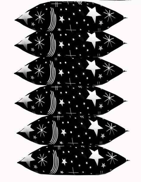 KHUKU Polyester Fibre Abstract Sleeping Pillow Pack of 6