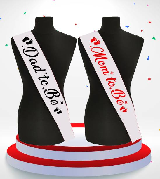 """Style Secrets Amazing Shimmering 3"""" White Satin Mom to Be and Dad to Be Sash Combo for Baby Shower Party Wear-up for Couple. ( Pack of 2 )"""