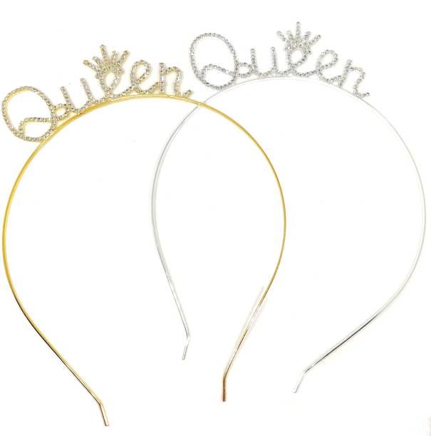 Bunty Silver Queen and Gold Queen Combo Crystal Crown Tiara for Girls Hair Band Hair Band