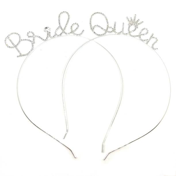 Bunty Silver Bride and Queen Combo Crystal Crown Tiara for Girls Hair Band (Silver) Hair Band