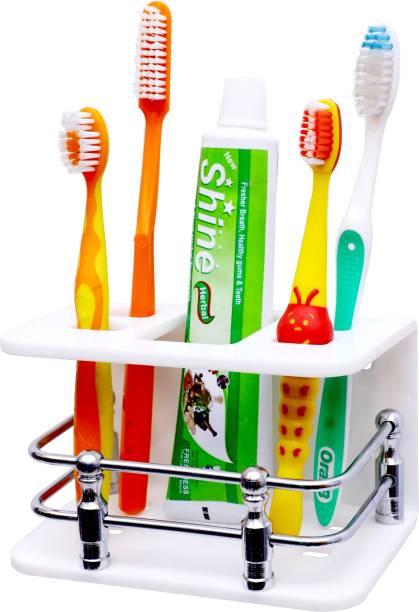Kaaple High Grade Acrylic Toothbrush Toothpaste Holders Stand | Toothbrush Slots Organizer Rack | Wall Mounted Toothbrush Toothpaste Stand Holder | Tumbler for Bathroom Acrylic Toothbrush Holder (White, Wall Mount) Acrylic Toothbrush Holder