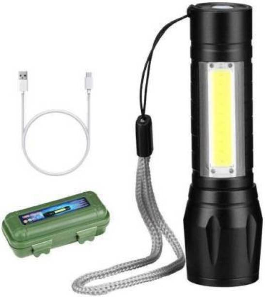 awza Zoomable XPE + COB LED Flashlight, Super Bright LED Torch,Waterproof Flashlight,4 Light Modes For Camping Hiking and Emergency Use Torch (Black : Rechargeable) Torch Emergency Light