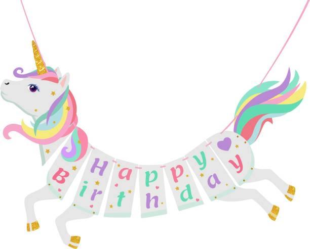 ZYOZI Unicorn Happy Birthday Bunting Banner Unicorn Themed Party Supplies Decorations for Girls Party Favors ( Set of 1) Banner