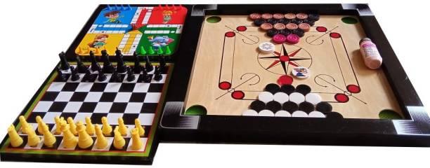 RAS Sports Carrom Board small size 20x20 , with Chess board, ludo, coins, stricker, powder Board Game Accessories Board Game