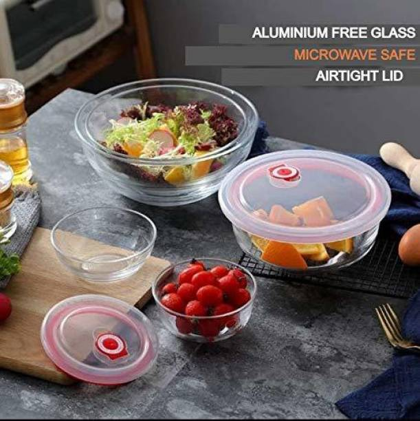 UPSCALE TRADERS Microwave Safe Borosilicate Glass Oven Bowl Set with Airtight Glass Lid - Set of 3 Glass Serving Bowl
