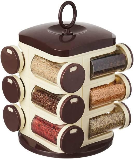 Neemco 12-Jar Cute Revolving Spice Masala Box Rack, Brown 12 Piece Spice Set (Plastic) 1 Piece Spice Set