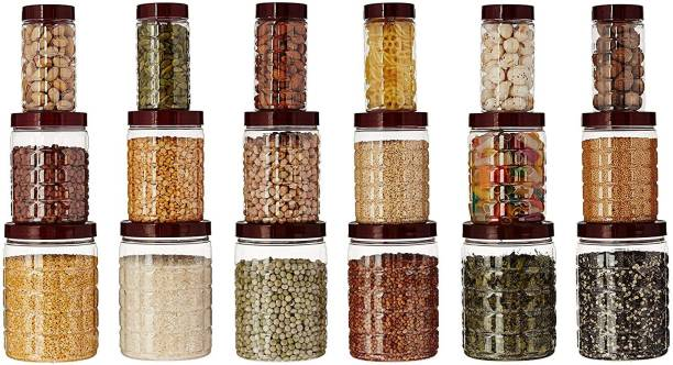 Floraware TikTik container plastic Canister Set, 18 Pieces, Clear  - 650 ml, 300 ml, 1200 ml Plastic Grocery Container