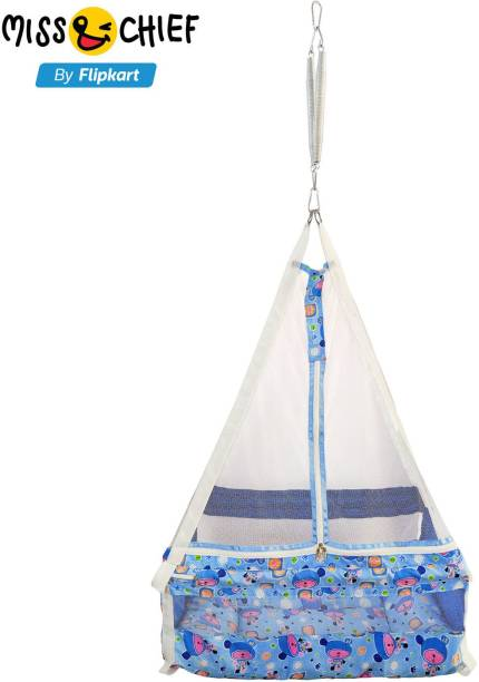 Miss & Chief Newborn Baby Cotton Hanging Swing Cradle with Bedding Set, Mosquito Net and Spring