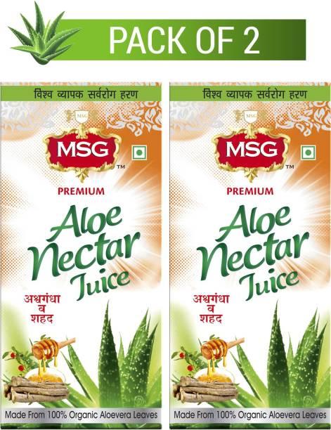 MSG Aloe Vera Juice with Ashwagandha and Honey (Made From 100% Organic Aloe Vera Leaves)