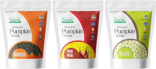 The Food Folks Pumpkin Seeds (Immunity Booster Combo Pack) (Salted, Peri Peri & Barbeque)