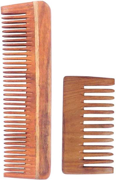 WOODYKRAFT Handmade Natural Pure Healthy Neem Wooden Comb Wide Tooth for Hair Growth,Anti-Dandruff Comb For Women And Men - PACK OF 2 (SINGLESMALL,POCKET)