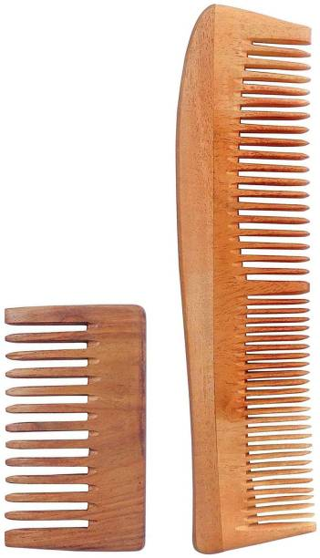 WOODYKRAFT Handmade Natural Pure Healthy Neem Wooden Comb Wide Tooth for Hair Growth,Anti-Dandruff Comb For Women And Men - PACK OF 2 (POCKETSMALL,DOUBLE)