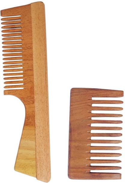 WOODYKRAFT Handmade Natural Pure Healthy Neem Wooden Comb Wide Tooth for Hair Growth,Anti-Dandruff Comb For Women And Men - PACK OF 2