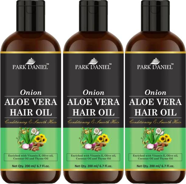 PARK DANIEL Premium Onion Aloe Vera Hair Oil Enriched With Vitamin E-For Conditioning and Smooth Hair Combo Pack 3 Bottle of 200 ml(600 ml) Hair Oil
